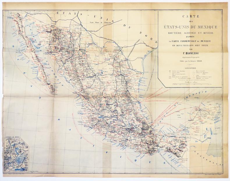 [MEXIQUE] Carte des États-Unis du Mexique routière agricole et minière d'après la carte commerciale du Mexique en deux feuilles avec texte. . ...