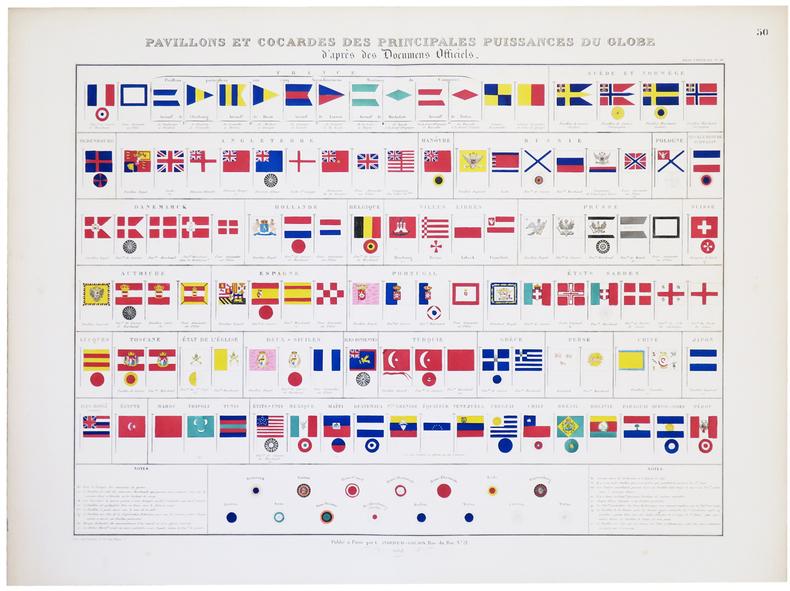 Pavillons et cocardes des principales puissances du globe d'après des documens officiels.. ANDRIVEAU-GOUJON (Eugène).