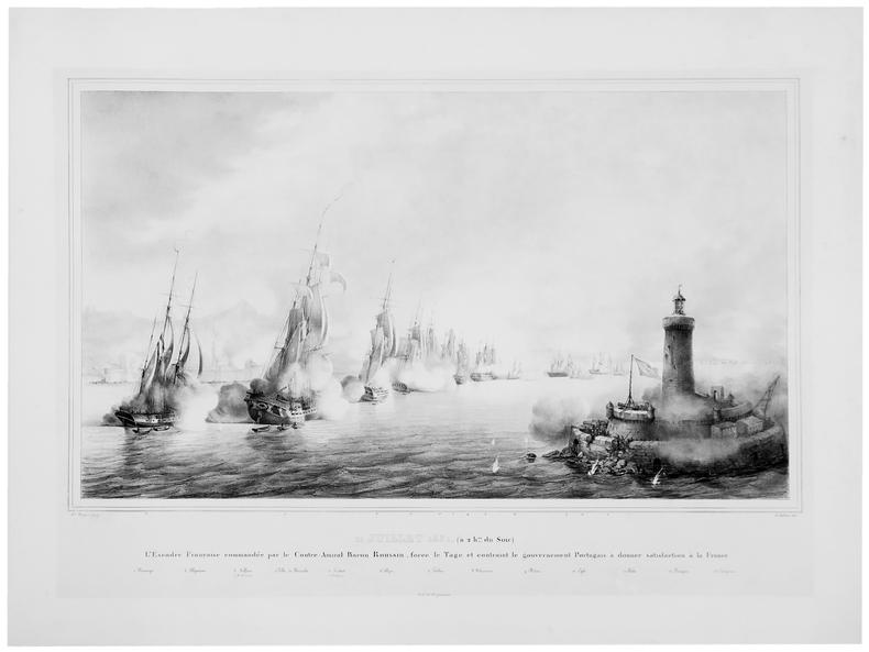 [COMBAT du TAGE] 11 juillet 1831 (à 2 hes du soir). L'Escadre française commandée par le contre-amiral baron Roussin, force le Tage et contraint le ...