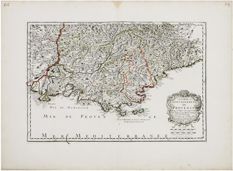 [PROVENCE] Comté, et gouvernement de Provence. Aveq les pays circonvoisins Co.tat Venaiscin, Prin.té d'Orange, .Co.tat de Nice, &c.. SANSON ...