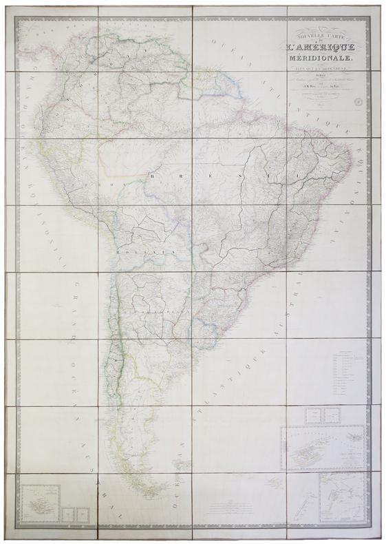 Nouvelle carte de l'Amérique méridionale et des îles qui en dépendent.. BRUE (Adrien Hubert).