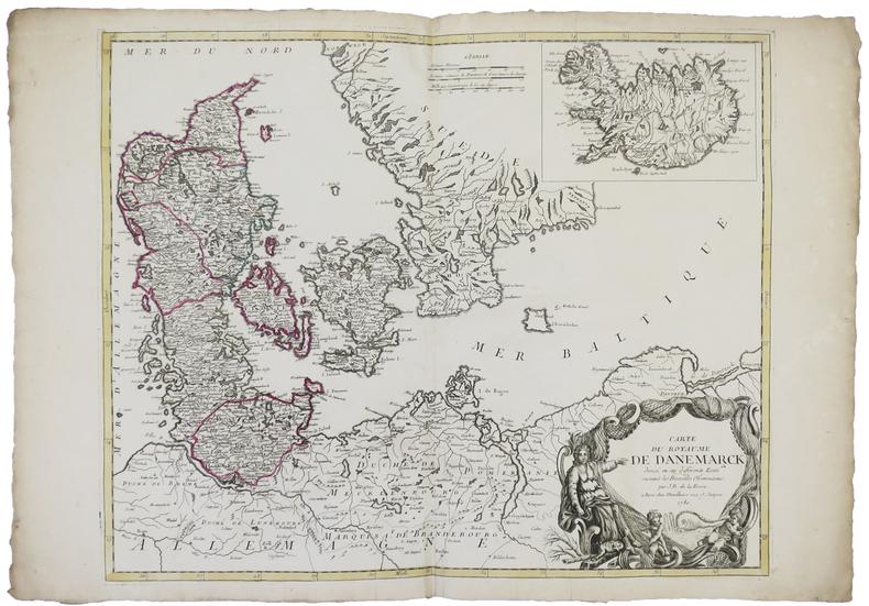 [DANEMARK] Carte du royaume de Danemarck divisé en ses différents états.. DELAFOSSE (Jean-Baptiste).