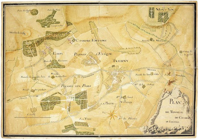 Plan [des propriétés] de monsieur [le marquis] du Coudray et environs.. LE PLESSIS-AUX-BOIS. MANUSCRIT.