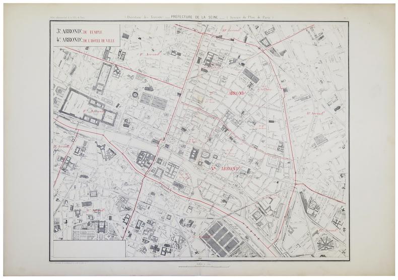 [PARIS 3ème et 4ème arrondissements] 3.e arrond.t du Temple - 4.e arrond.t de l'Hôtel de Ville.. ALPHAND (Jean-Charles Adolphe).