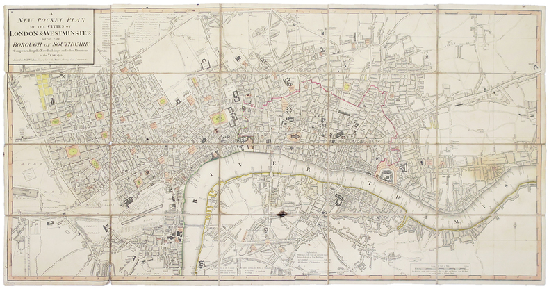 [LONDRES] A new pocket plan of the cities of London & Westminster; with the borough of Southwark: comprehending the new buildings and other ...
