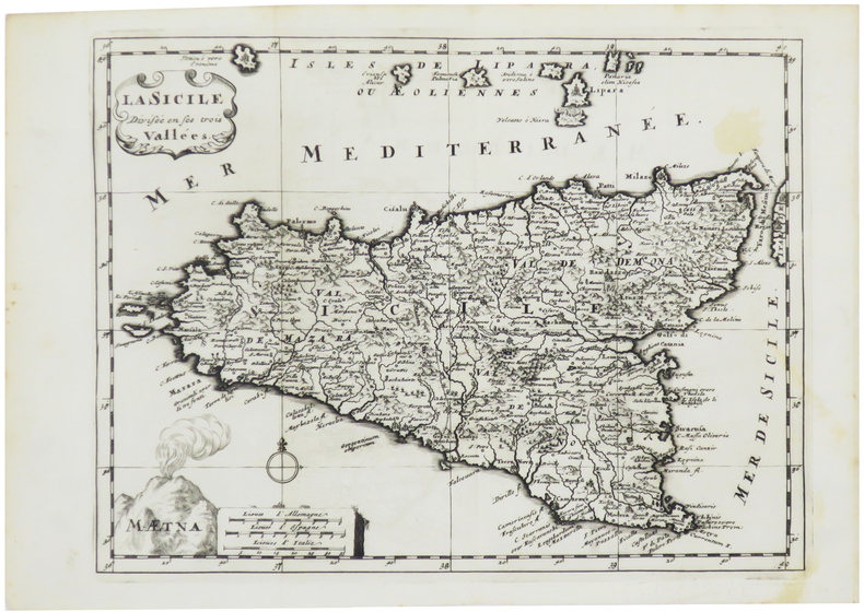 [SICILE] La Sicile divisée en ses trois vallées.. SANSON d'ABBEVILLE (Nicolas).