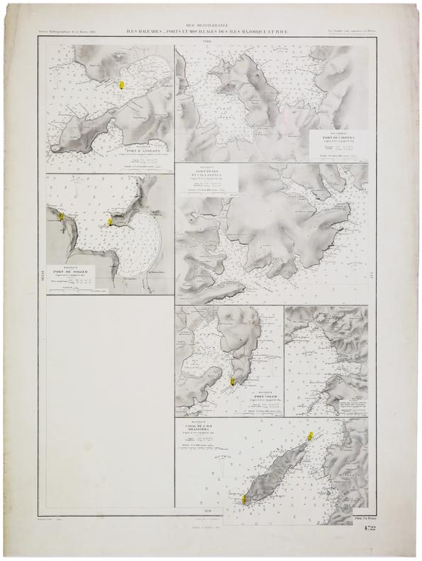 [BALÉARES] Îles Baléares. Ports et mouillages des îles Majorque et Ivice.. SERVICE HYDROGRAPHIQUE DE LA MARINE.