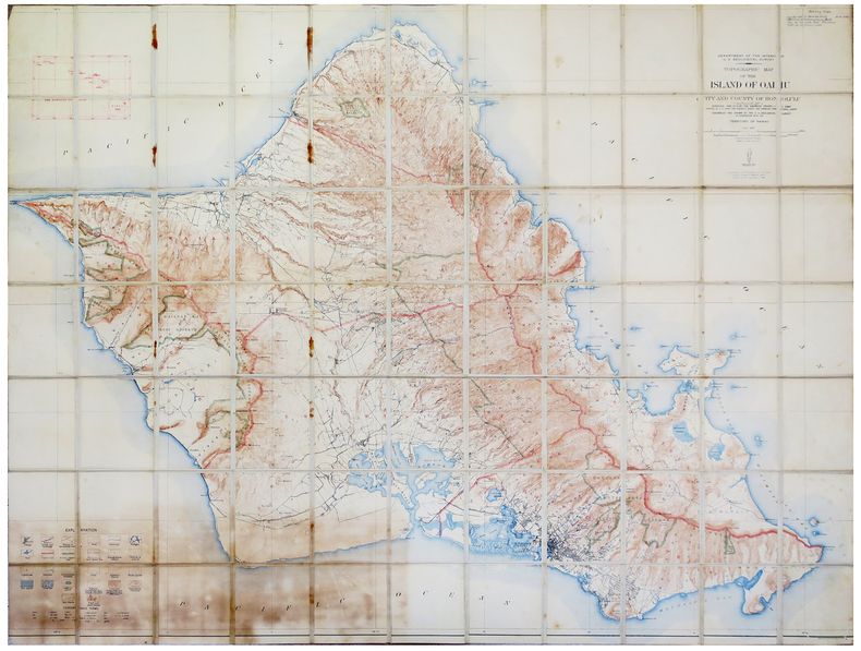 [HAWAÏÏ] Topographic map of the island of Oahu city and county of Honolulu.. U.S. GEOLOGICAL SURVEY.