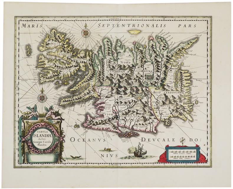 [ISLANDE] Tabula Islandiæ Auctore Georgio Carolo Flandro.. HONDIUS (Jodocus).