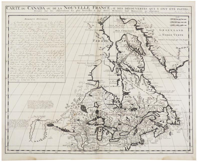 Carte du Canada ou de la Nouvelle France, & des découvertes qui y ont été faites.. CHATELAIN (Henry Abraham).