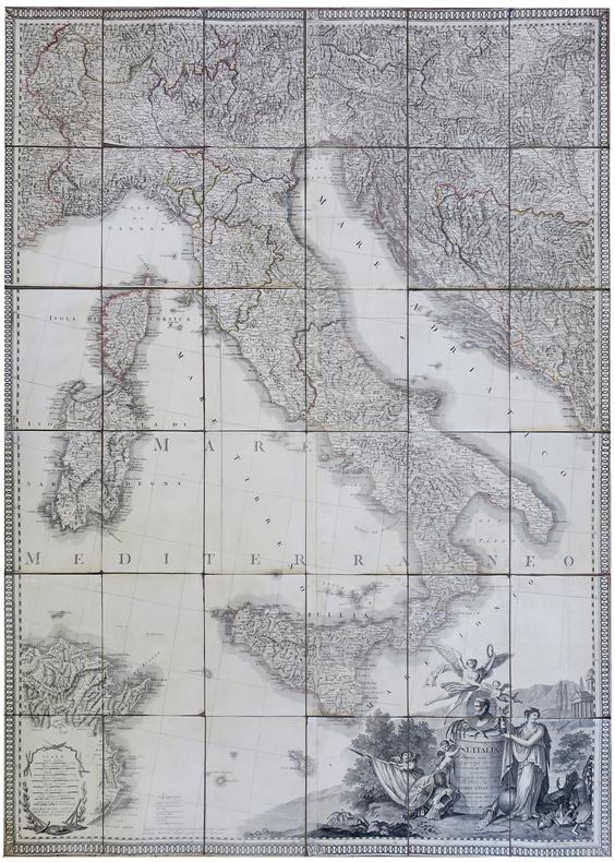 L'Italia in quattro fogli imperiali con l'aggiunte dei luoghi e strade postali.. RIZZI-ZANNONI (Giovanni Antonio).
