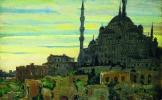 Vue de la Mosquée bleue.. TURQUIE.