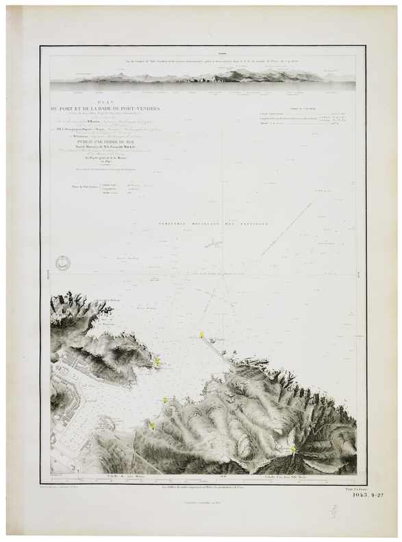 [PORT-VENDRES] Plan du port et de la rade de Port-Vendres (Côtes du Roussillon, Dép.t des Pyrénées-Orientales).. DÉPÔT-GÉNÉRAL DE LA MARINE.
