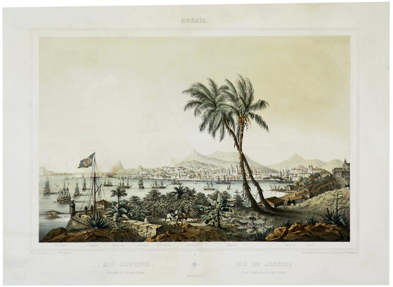 [RIO de  JANEIRO] Rio Janeiro. Vue prise de l'île das Cobras - Rio de Janeiro. Vista tomada da ilha das Cobras.. LE BRETON (Louis).