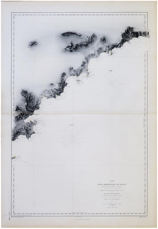 [VAR] Carte des côtes méridionales de France. Partie comprise entre S.t Tropez et la frontière.. DÉPÔT des CARTES et PLANS de la MARINE.