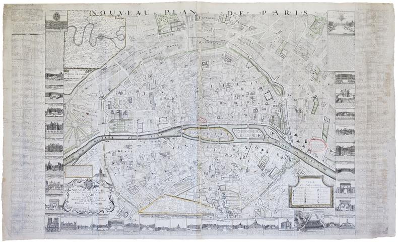 Nouveau plan de la ville, cité, et université de Paris.. ROUSSEL (Claude).