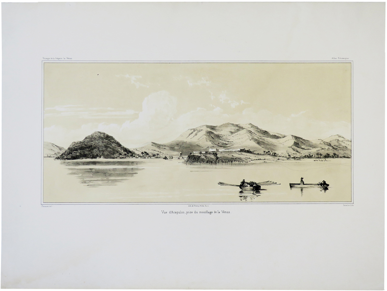 [MEXIQUE] Vue d'Acapulco, prise du mouillage de la Vénus.. DU PETIT-THOUARS (Louis-Marie Aubert).