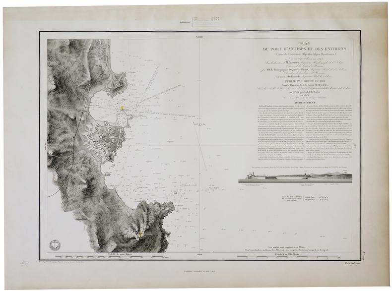 [ANTIBES] Plan du port d'Antibes et des environs (Côtes de Provence, Dép.t des Alpes Maritimes).. DÉPÔT GÉNÉRAL DE LA MARINE.