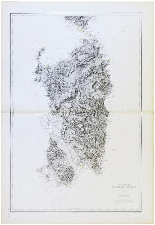 [SARDAIGNE] Carte générale de l'île de Sardaigne.. DÉPÔT des CARTES et PLANS de la MARINE.
