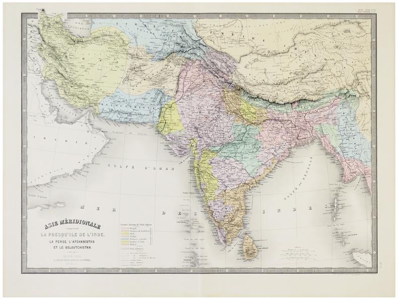 Asie méridionale comprenant la presqu'île de l'Inde, la Perse, l'Afghanistan et le Beloutchistan.. ANDRIVEAU-GOUJON (Eugène).