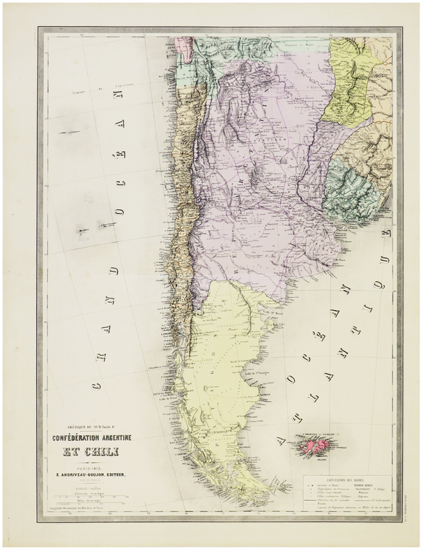[ARGENTINE & CHILI] Amérique du Sud. Feuille 4e. Confédération Argentine et Chili.. ANDRIVEAU-GOUJON (Eugène).