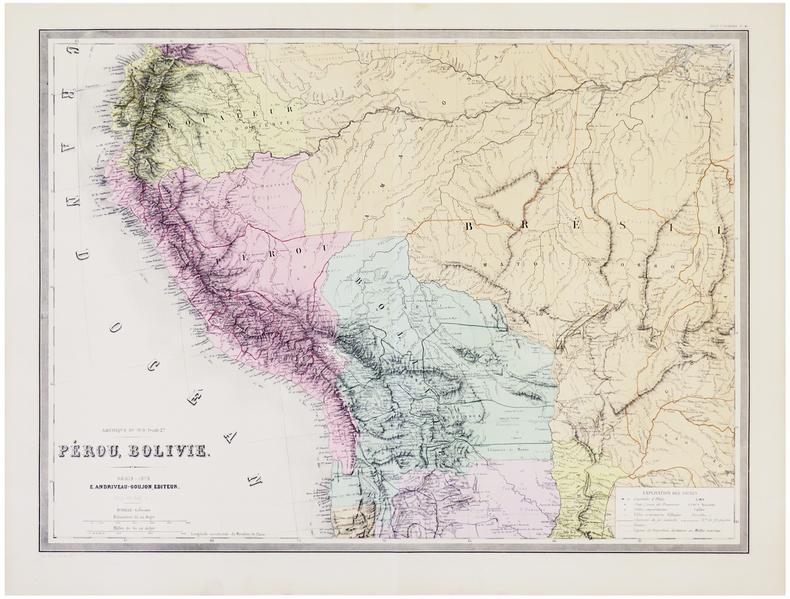 [PÉROU & BOLIVIE] Amérique du Sud. Feuille 2e. Pérou, Bolivie.. ANDRIVEAU-GOUJON (Eugène).