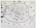 Nouveau plan illustré de la ville de Paris avec le système complet de ses fortifications et forts détachés, et des communes de la banlieue.. ...