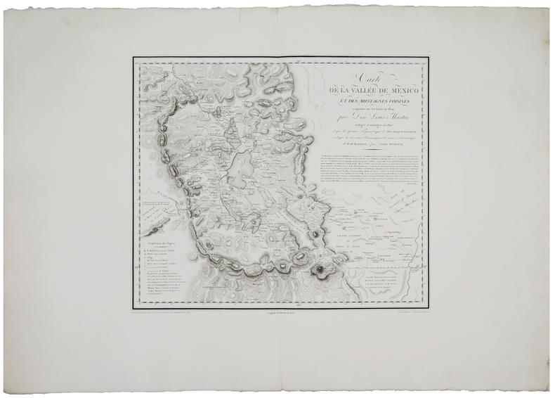 [MEXIQUE/MEXICO] Carte de la vallée de Mexico et des montagnes voisines esquissée sur les lieux en 1804, par Don Louis Martin.. HUMBOLDT ...