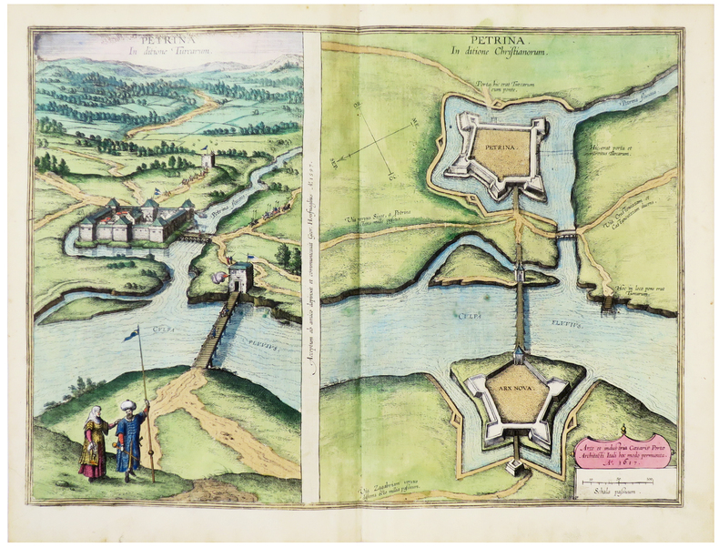 [CROATIE/PETRINJA] Petrina in ditione Turcarum - Petrina in ditione Christianorum.. BRAUN (Georg) & HOGENBERG (Frans).