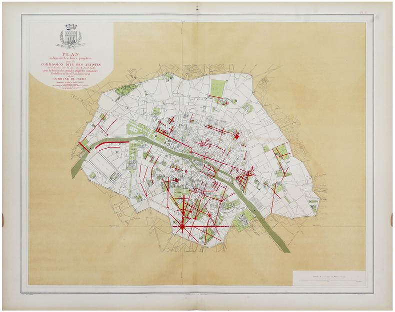 Plan indiquant les rues projetées par la Commission dite des Artistes en exécution de la loi du 4 avril 1793 pour la division des grandes propriétés ...