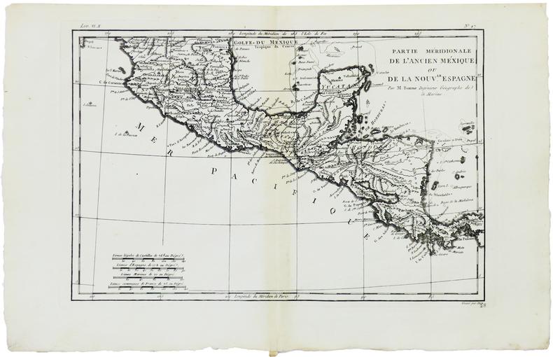 [AMÉRIQUE CENTRALE] Partie méridionale de l'ancien Méxique ou de la Nouv.le Espagne.. BONNE (Rigobert).