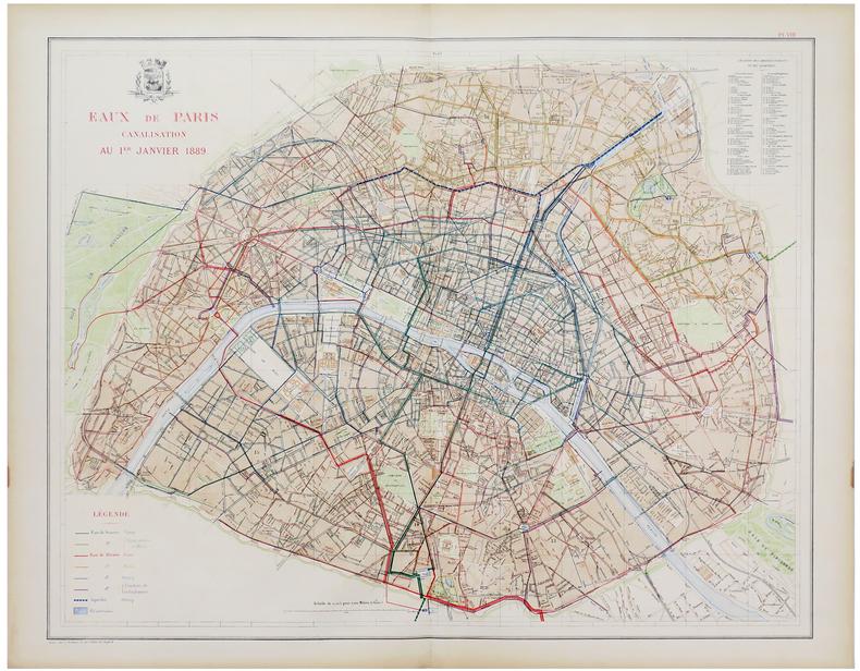 [EAUX de PARIS] Eaux de Paris. Canalisation au 1er janvier 1889.. ALPHAND (Jean-Charles Adolphe) & FAUVE (L.).
