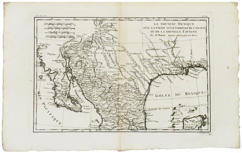 [NOUVEAU-MEXIQUE] Le Nouveau Mexique avec la partie septentrionale de l'ancien, ou de la Nouvelle Espagne.. BONNE (Rigobert).