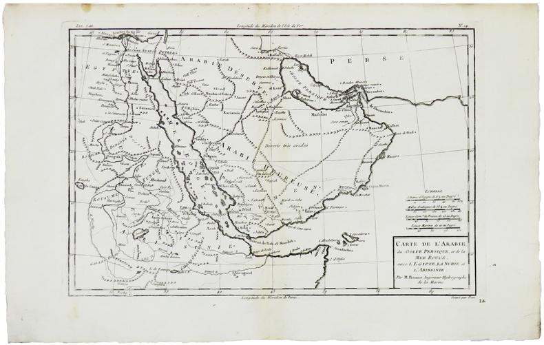 Carte de l'Arabie, du Golfe Persique, et de la Mer Rouge, avec l'Égypte, la Nubie et l'Abissinie.. BONNE (Rigobert).