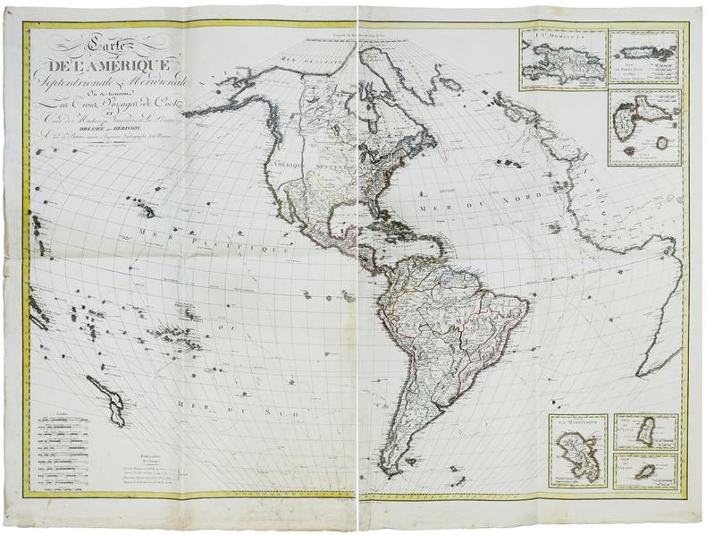 Carte de l'Amérique septentrionale & méridionale, où se trouvent les trois voyages de Cook et ceux de Mackenzie, Vancouver et La Pérouse.. HERISSON ...