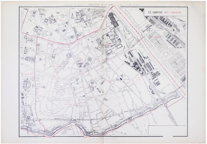 [PARIS 13ème arrondissement] 13.e arrond.t des Gobelins.. ALPHAND (Jean-Charles Adolphe) & FAUVE (L.).