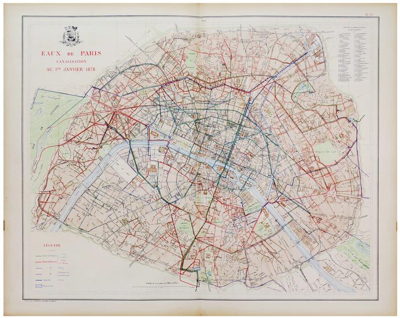[EAUX de PARIS] Eaux de Paris. Canalisation au 1er janvier 1878.. ALPHAND (Jean-Charles Adolphe) & FAUVE (L.).