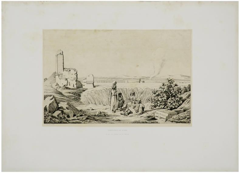Campagne de Rome. Vue prise sur l'ancienne voie des tombeaux.. CARUELLE d'ALIGNY (Théodore).
