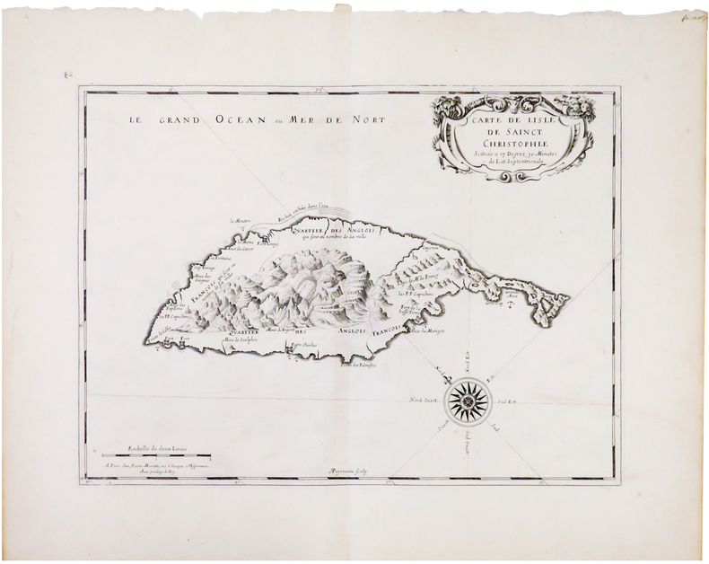 [SAINT KITTS] Carte de lisle de Sainct Christophle.. SANSON d'ABBEVILLE (Nicolas).