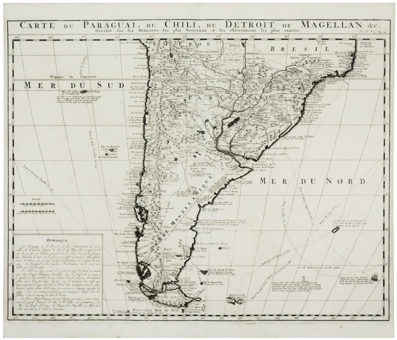 [PARAGUAY/CHILI/TERRE DE FEU] Carte du Paraguai, du Chili, du Détroit de Magellan &c.. CHÂTELAIN (Henry Abraham).