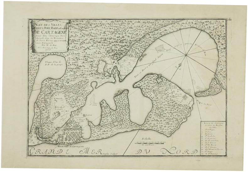 [CARTHAGÈNE/COLOMBIE] Plan des villes, forts, port, rade et environs de Cartagène située dans l'Amérique méridionale dans la province de Terre Ferme ...