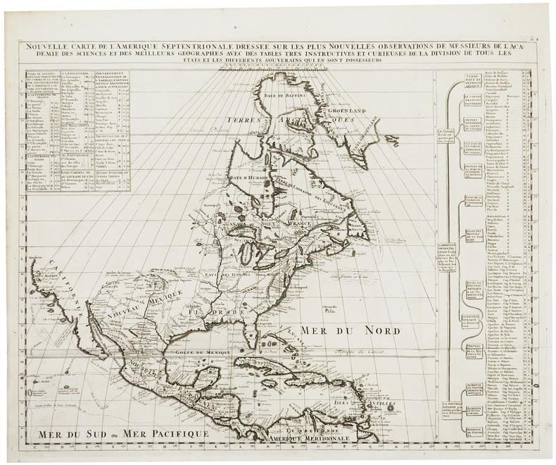 Nouvelle carte de l'Amérique septentrionale dressée sur les plus nouvelles observations de Messieurs de l'Académie des Sciences et des meilleurs ...