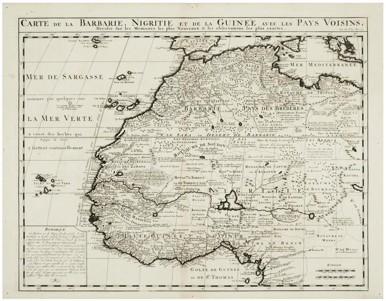 Carte de la Barbarie, Nigritie et de la Guinée avec les pays voisins.. CHÂTELAIN (Henry Abraham).