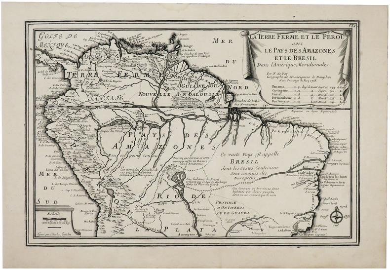 La Terre Ferme et le Pérou avec le pays des Amazones et le Brésil dans l'Amérique méridionale.. FER (Nicolas de).