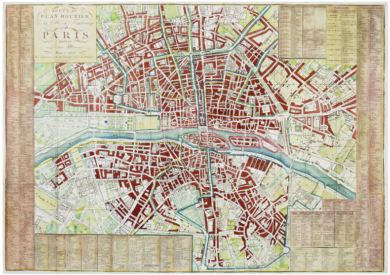 Nouveau plan routier de la ville et faubourgs de Paris divisé en douze mairies.. JOURNEAUX.