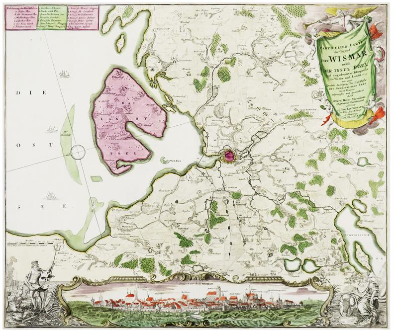 [WISMAR] Particulier Carte der Gegend von Wismar nebst der Insul Poel und angedeuteter Bloquade zu Wasser und Lande 1715.. HOMANN (Johann Baptist).