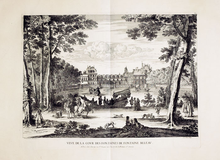 Veue de la cour des fontaines de Fontaine Beleau.. CHÉREAU (Jacques);