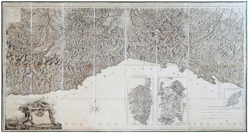 [LIGURIE] Carte topographique des États de la République de Gênes suivant l'original par le fameux Chaffrion, publiée et augmentée, 1784.. GRAVIER ...