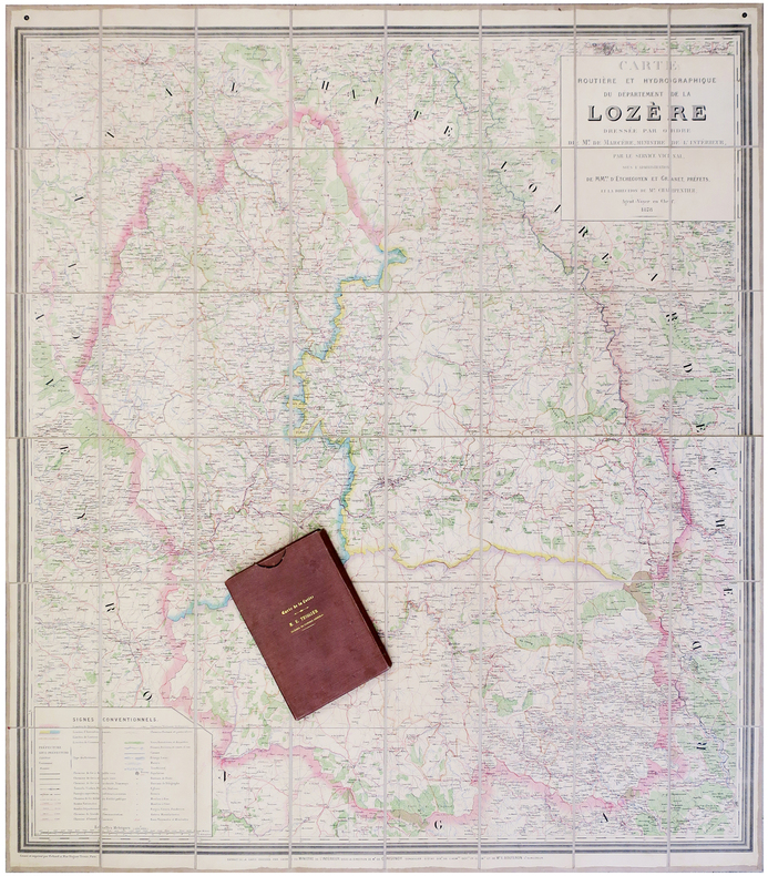 [LOZÈRE] Carte routière et hydrographique du département de la Lozère.. CHARPENTIER (A.).