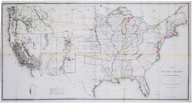 Map of the United States and territories, shewing the extent of public surveys and other details. Constructed from the Plats and official sources of ...